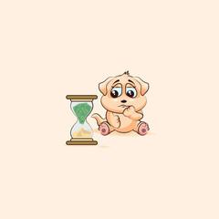dog cub sticker emoticon sits at hourglass