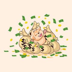 dog cub sticker emoticon lies on bags of money