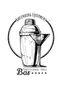 illustration of bartending equipment