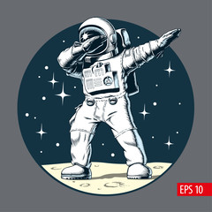 Astronaut dabbing on the moon, comic style vector illustration.