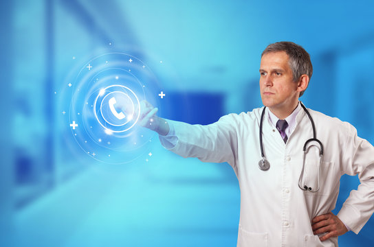 Doctor touching blue screen with call center concept