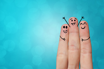 Joyful fingers smiling with colorful background concept