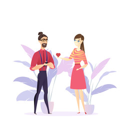 Flat Illustration Girl Confesses Love Young Guy