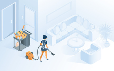 Cleaning Hotel Room Service Isometric Vector