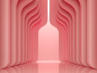 Modern luxury space interior concept 3d render ,There are smooth shape wall pattern with coral pink decorate with led stripe light.