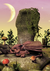 A fairytale scene with a little pink dragon sleeping on a rock.