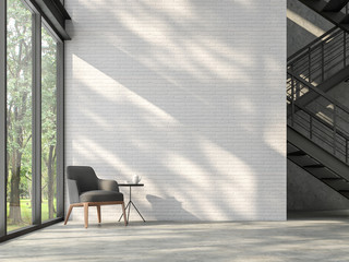 Wall Mural - Loft style stair hall 3d render,There are white brick wall,polished concrete floor and black steel structure stair,There are large windows look out to see the nature,sunlight shining into the room.