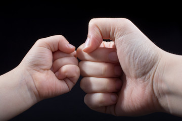 Hand closed for a fist gesture