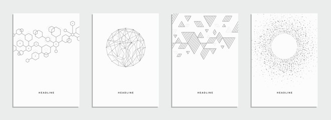 Abstract geometric technological flyer, brochure, corporate identity. Wall mural
