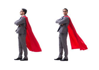 Super hero businessman isolated on white  Wall mural