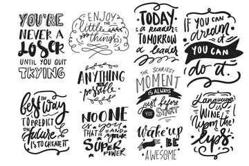 Poster Positive Typography Motivation quote. Hand lettering modern illustration for your design.