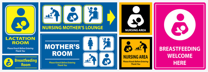 set of restroom, nursing room, lactation room placard sign. easy to modify