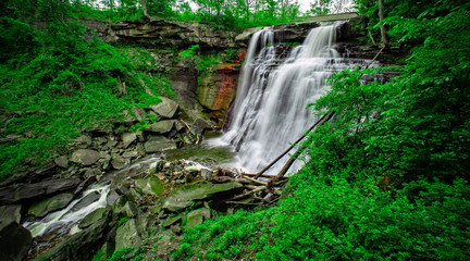 Wall Murals Green Brandywine Falls in Cuyahoga Valley National Park, Ohio, USA