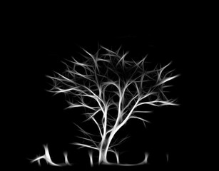 fascinating tree on a black background. fractal exciting picture