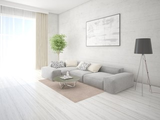 Mock up stylish lounge with gray corner sofa and bright hipster backdrop.