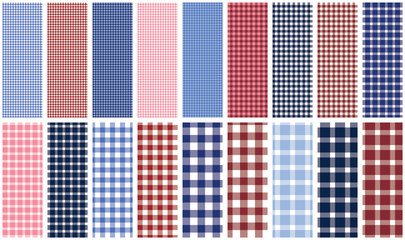 Gingham plaid. Set of 18 seamless pattern swatches for fabric, backgrounds, apparel, paper, gift wrap and more. EPS file has global colors for easy color changes.