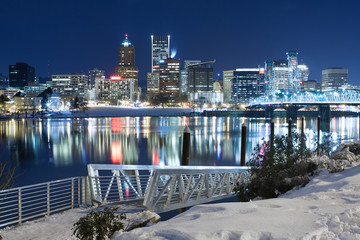 Fototapete - Winter Landscape of Portland Oregon