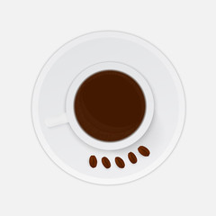 Realistic cup of coffee with beans isolated on white background. Top view. Morning, breakfast or break concept. Flat lay vector illustration.