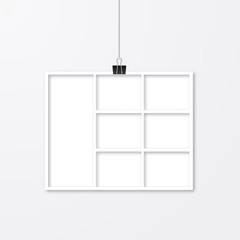 Realistic white paper photo frame hanging with binder clips. Template collage vector illustration isolated. Mock up for photographers.