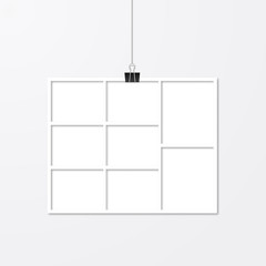 Paper photo frame hanging with binder clips. Collage vector illustration isolated on white. Social media story layout template. Advertising poster.