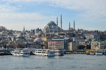 View of Blue Mosque from Galata bridge, Istanbul