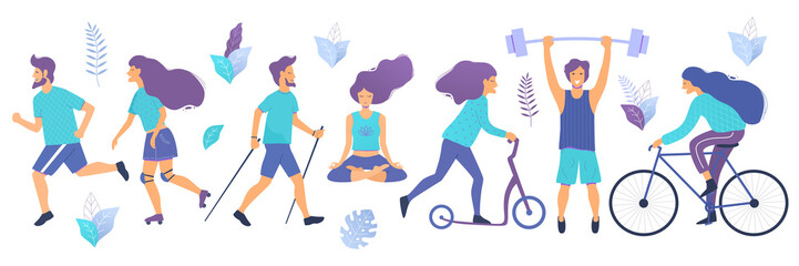 Healthy lifestyle. Different physical activities: running, roller skates, dancing, bodybuilding, yoga, fitness, scooter, nordic walking. Flat vector illustration.