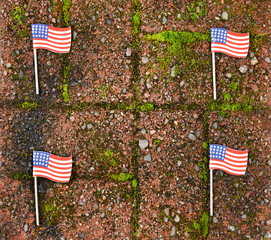 Red grunge brick with and United States flags for border wall protection concept