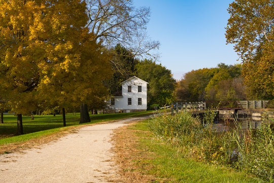 Autumn/ Fall along the historic I & M Canal. Channahon, Illinois, USA