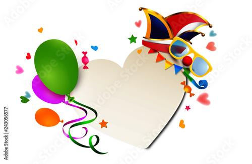 Fasching Herz Schild Mit Luftballons Konfetti Herzen Und Bunten