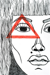 Graphic portrait with red triangle on the face. Surreal illustration