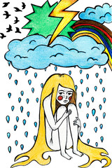 Fantasy hand drawn illustration of the girl, rain, cloud, lightening, storm and rainbow. Surreal concept