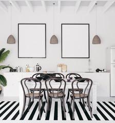 Mock up poster frame in kitchen interior, 3d render