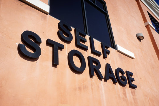 self storage sign on building