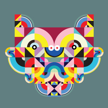 vector colorful abstract polygonal illustration animal face mask with abstract geometric shape