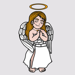 Beautiful Angel prayer cartoon vector illustration