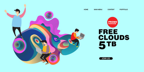 Free Clouds Storage Promotion Illustration for Banner and Landing Page Design