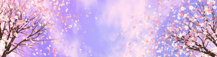 3d rendering picture of cherry blossom against purple sky.