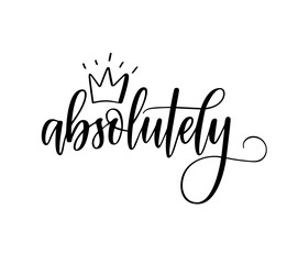 Absolutely vector calligraphy word with a crown