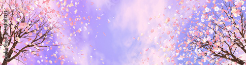 Wall mural 3d rendering picture of cherry blossom against purple sky.