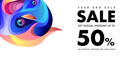 Year End Sale 50% Discount Banner with Colorful Fluid and Liquid Background