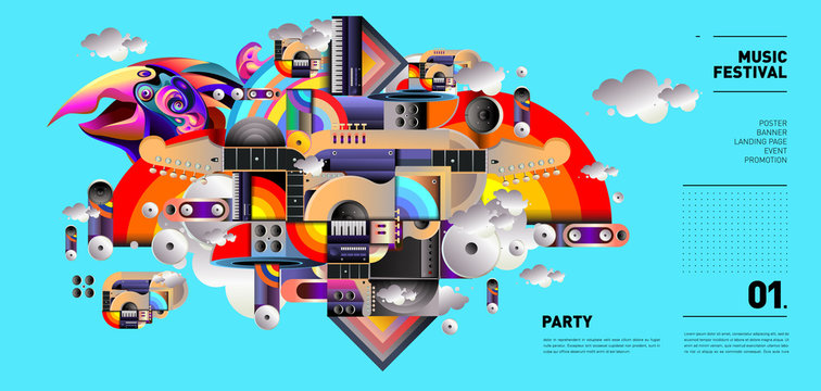 Music Festival Illustration Design for Party and Event. Vector Illustration Collage of Music for Background and Wallpaper in eps 10