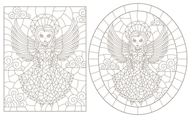 Set of contour illustrations of stained glass with angels, round and rectangular image, dark contours on a white background