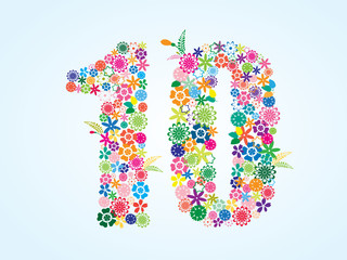 Vector Colorful Floral 10 Number Design isolated on white background. Floral Number Ten Vector Typeface.