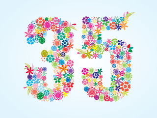 Vector Colorful Floral 35 Number Design isolated on white background. Floral Number Thirty Five Vector Typeface.