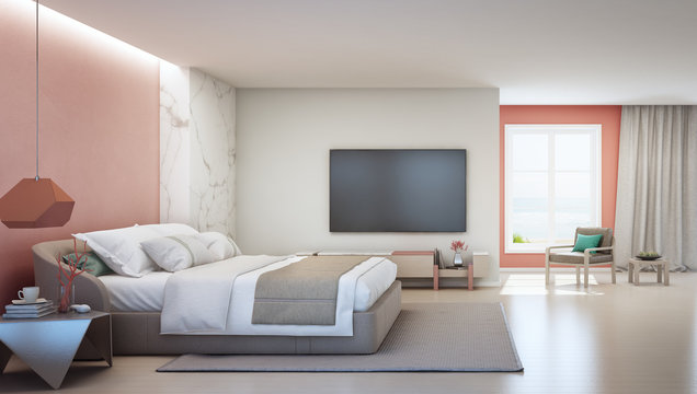 Sea view bedroom and pink coral living room of luxury summer beach house with double bed near wooden cabinet. TV on white wall in vacation home or holiday villa. Hotel interior 3d illustration.