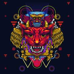 Golden winged devils and death owls. Illustration that depicts a horned and fanged devil's head and above it is an owl. With floral and sacred geometry
