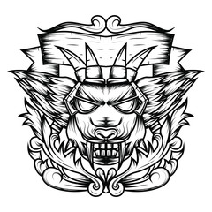 Line art of Devil's Head Sacred Geometry Ornamental is an Illustration of a devil's head with sharp fangs and wings