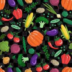 Vector seamless pattern with vegetables on black color. Colored pattern on the theme of organic and vegetarian food. Background for use in design