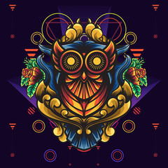 Owl Ornamental Sacred Geometry is An illustration with an owl base. With a blend of sacred geometry ornament