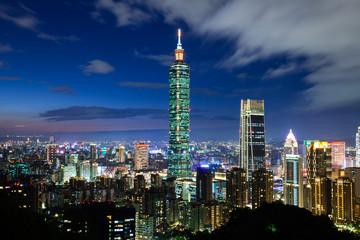 Taipei skyline at dusk, Taiwan